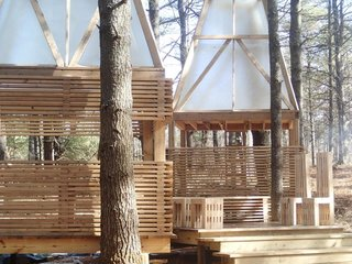 "This year's program focused on building a sleeping structure for ""glamping"" in the Vermont woods."