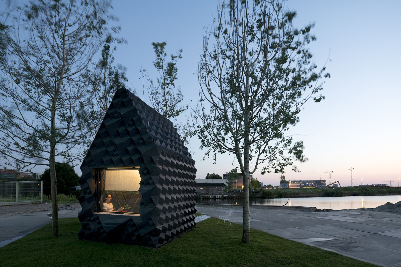 Exterior and Cabin Building Type To rent the cabin for a short stay, intrepid guests can contact Dus Architects at info@houseofdus.com  Photo: Ossip van Duivenbode  Photo 19 of 19 in Stay in This 3D-Printed Tiny House from Book a Stay in This 3D-Printed Tiny House