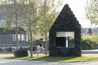 The structure clocks in at just under 90 square feet, and is made entirely of bioplastic.