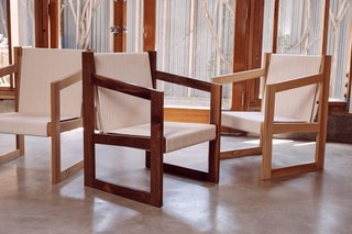 The Chair No. 2 by Dust to Dust is based on designer Kristin Grant Fowler's experience in boatbuilding. The chairs are available in oak, walnut, and ash with mortise-and-tenon joints; 500 feet of rope comprise the seat and back. A dark shou-sugi-ban version, not pictured, is also available.