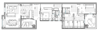 The floor plan of the renovated apartment.
