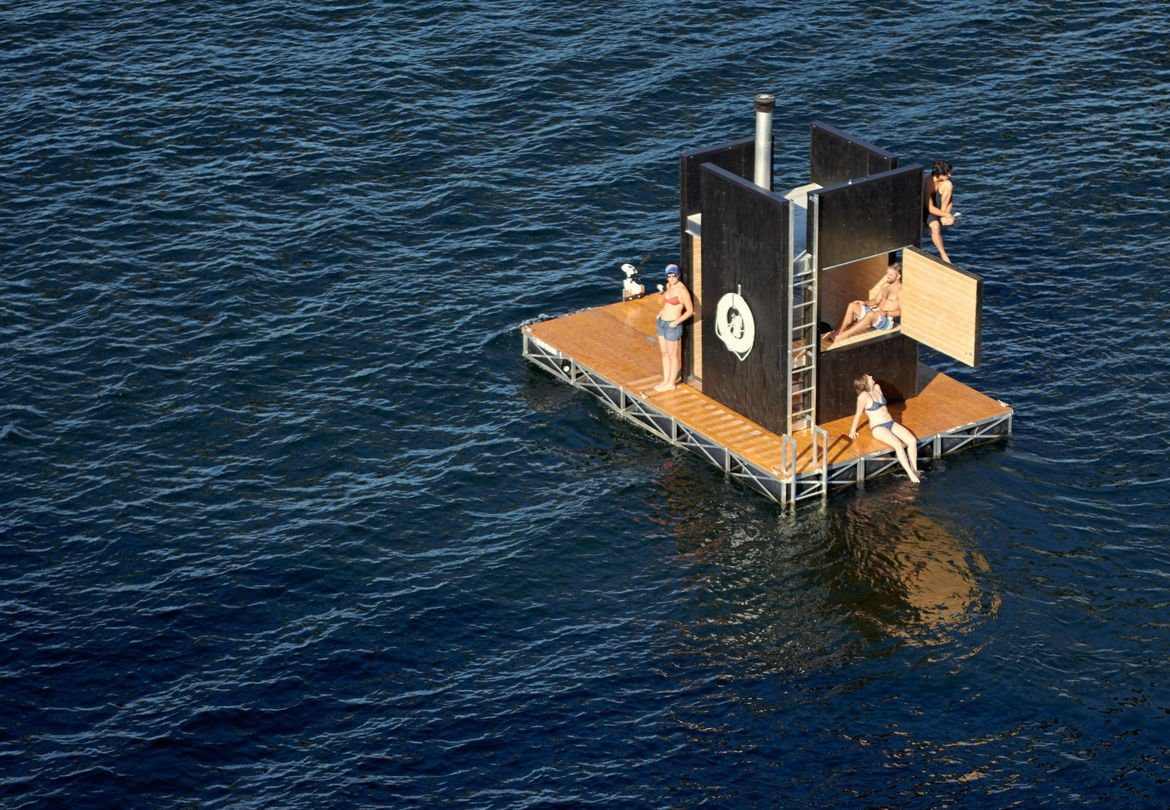 Photo 1 of 2 in This Crew Sails Around Seattle on a Sauna They Built in a Brewery