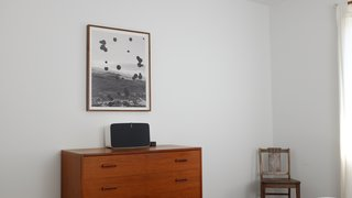 In the bedroom, a Sonos Play:5 is connected to Amazon Echo, enabling the residents to cycle through songs and podcasts using voice commands.
