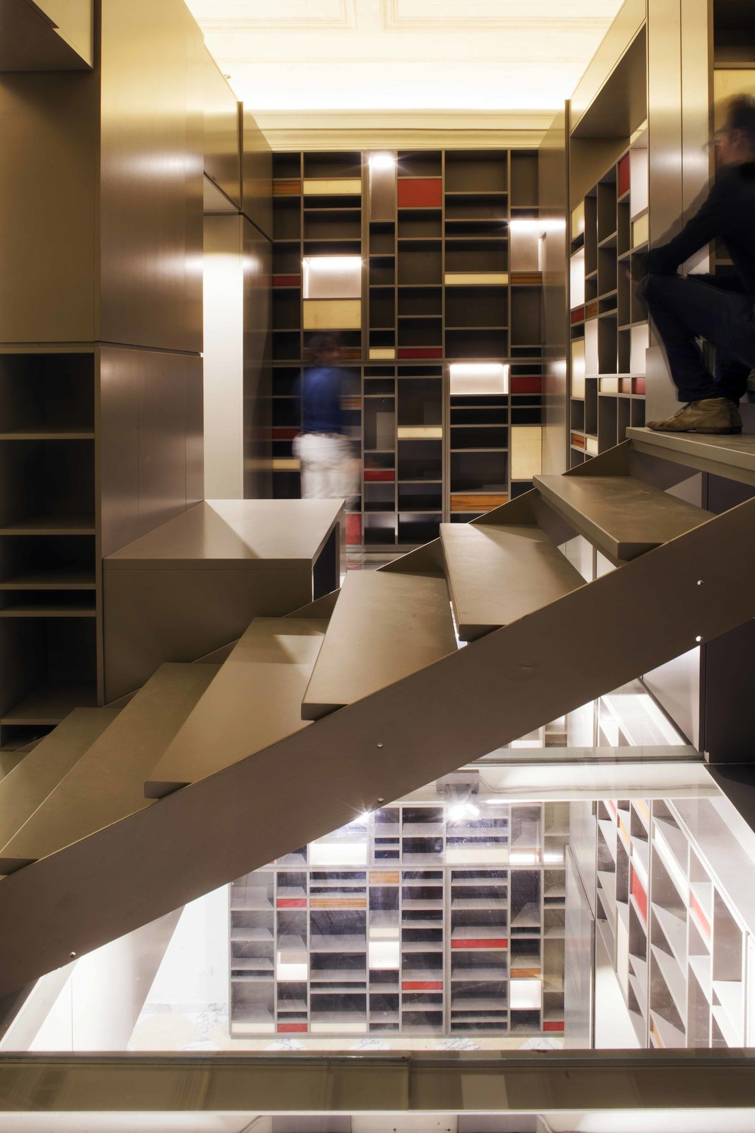 Staircase and Metal Tread  Photo 3 of 4 in Life at a Florentine Loft Revolves Around an  All-in-One Storage Marvel