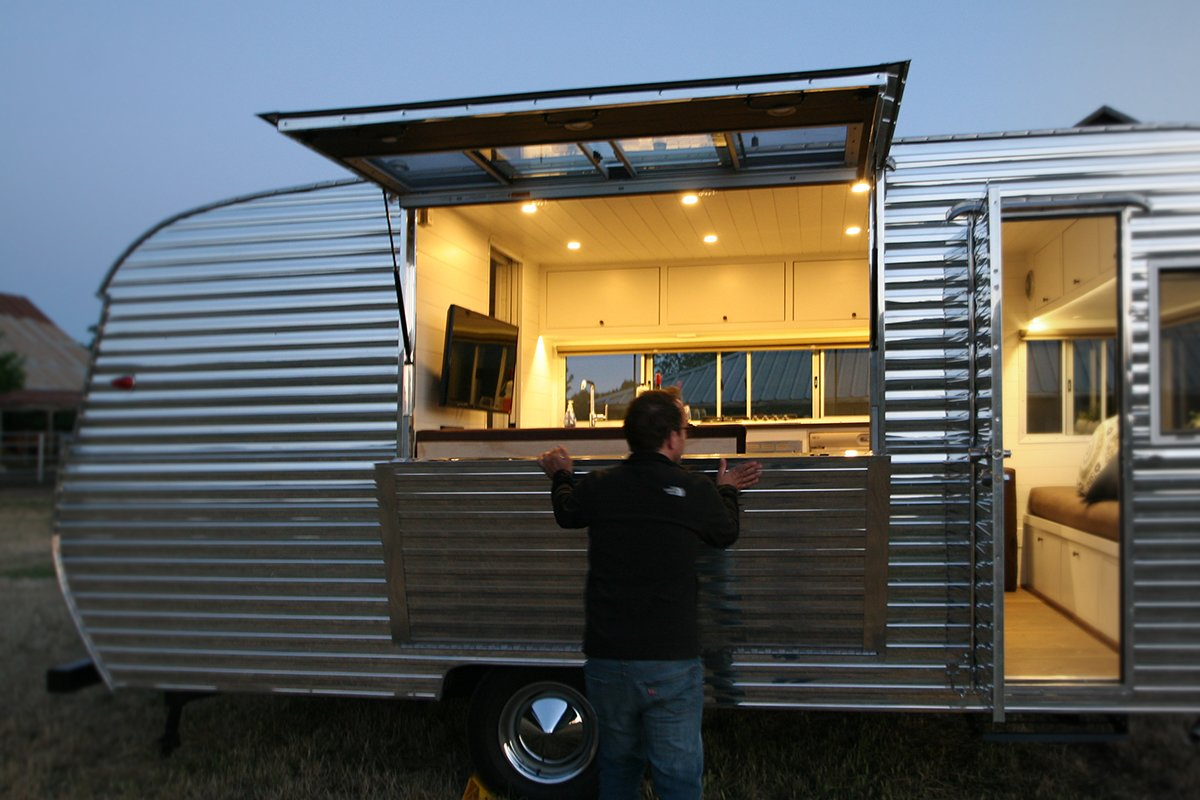 Exterior, Camper Building Type, and Metal Siding Material  Photo 3 of 4 in This Tiny Trailer Makes the World its Living Room