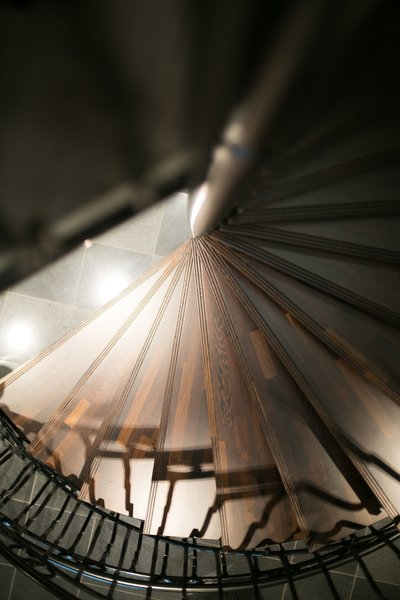 The dramatic spiral staircase was handmade by a local artisan.