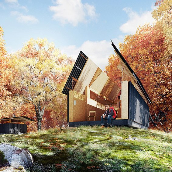 SKYHUT by Waind Gohil + Potter has a roof that opens to the stars—a nod to Cadair Idris, where legend has it that travelers sleeping outside would awaken as poets or madmen.  Photo 2 of 4 in Passage of Time