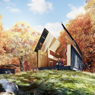 SKYHUT by Waind Gohil + Potter has a roof that opens to the stars—a nod to Cadair Idris, where legend has it that travelers sleeping outside would awaken as poets or madmen.