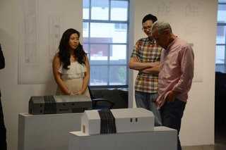 Models on exhibition during SCI-Arc's reception for their project in partnership with Habitat LA.