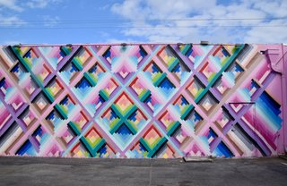 Maya Hayuk's colorful wall mural in Miami, which was created for Art Basel in 2013, features an energy that's fit for the streets of this vibrant city.