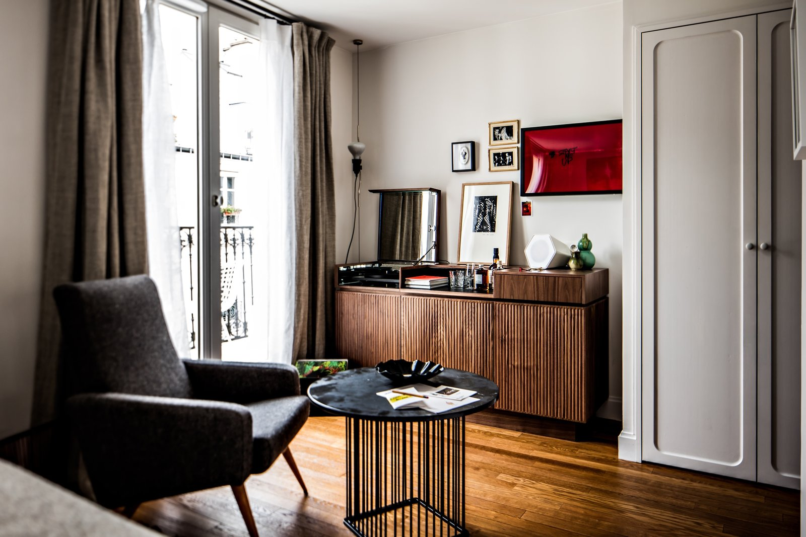 Pigalle 21, a mid-size room in the hotel, showcases unique pieces selected by designer furniture specialist, Alexandre Guillemain.  Photo 3 of 8 in Collaboration Reigns  Over This Parisian Neighborhood Hotel