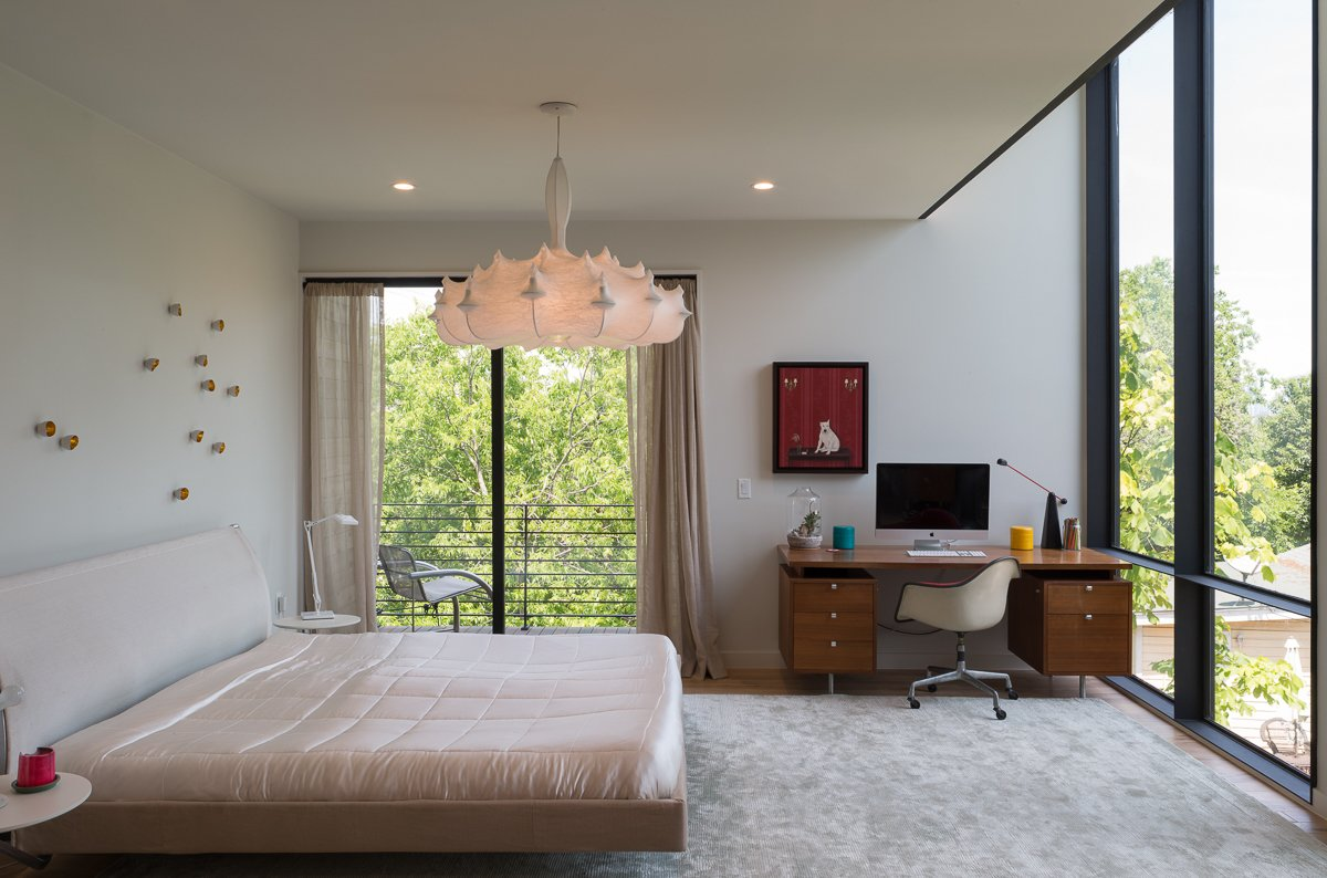 Bedroom, Bed, and Pendant Lighting  Tetra House by Bercy Chen Studio