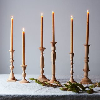 Sir Madam Georgian Wood Candlesticks