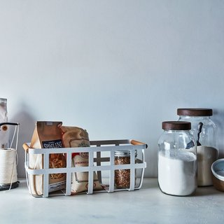 Yamazaki Home Steel & Wood Storage Basket