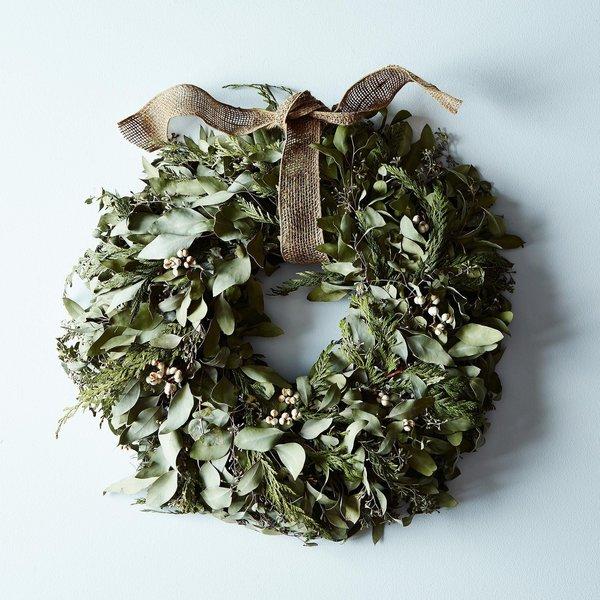 Cedar & Eucalyptus Wreath with Burlap Ribbon