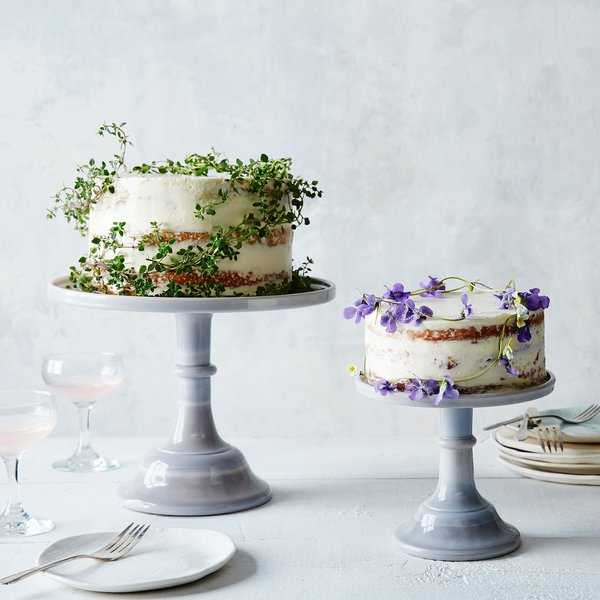 Mosser Glass Grey Swirl Glass Cake Stand