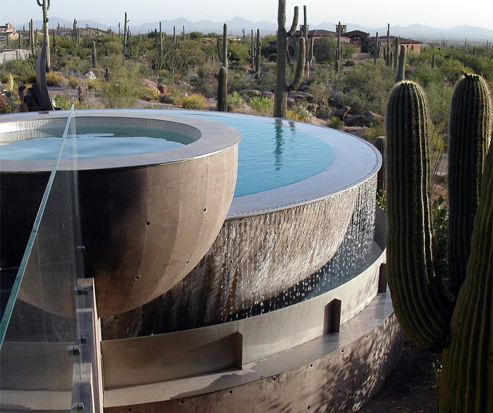 #exterior #modern #arizona #architecture #jonesstudio #2002 #residence #desert #scorpionhouse #fountain #  Photo 10 of 12 in 5 Sustainable Ways To Beat the Heat Without Air Conditioning from Scorpion Residence