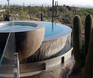 In hot, dry climates like the Southwest, fountains with regularly-circulating water create evaporative cooling.