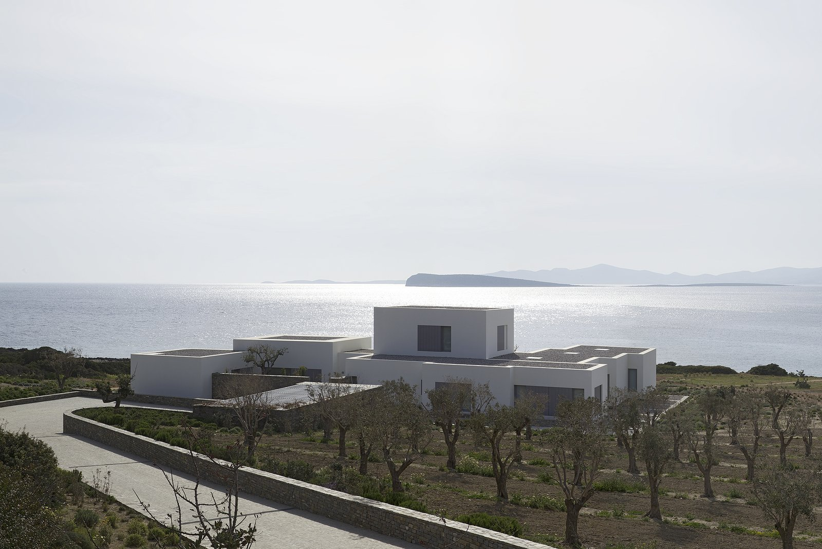 Outdoor, Trees, and Shrubs  Photo 3 of 9 in 9 Stunning Examples of Homes Built on and Around Cliffs from Paros House by John Pawson