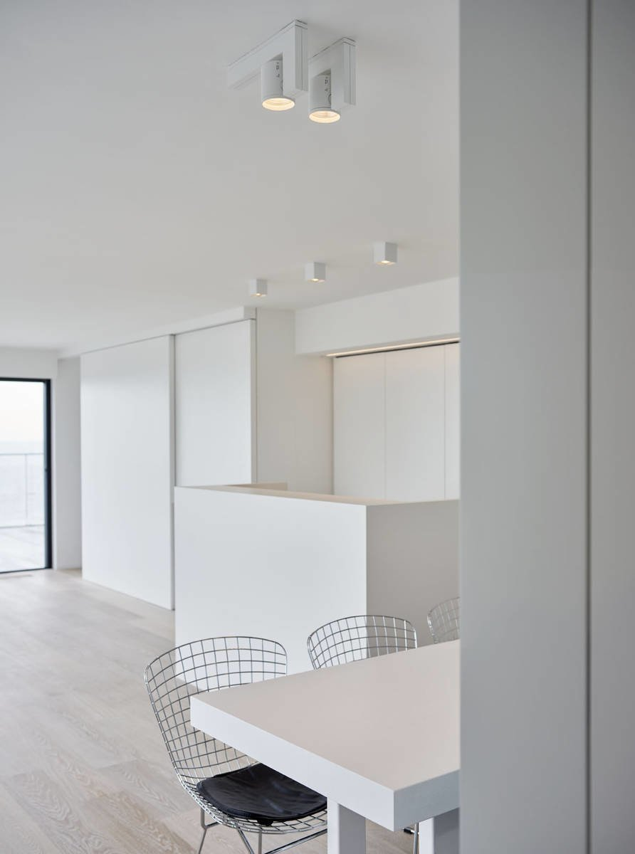 Dining Room, Chair, Table, Light Hardwood Floor, and Ceiling Lighting  Photo 10 of 11 in 10 Minimalist and Monochromatic Homes in Belgium