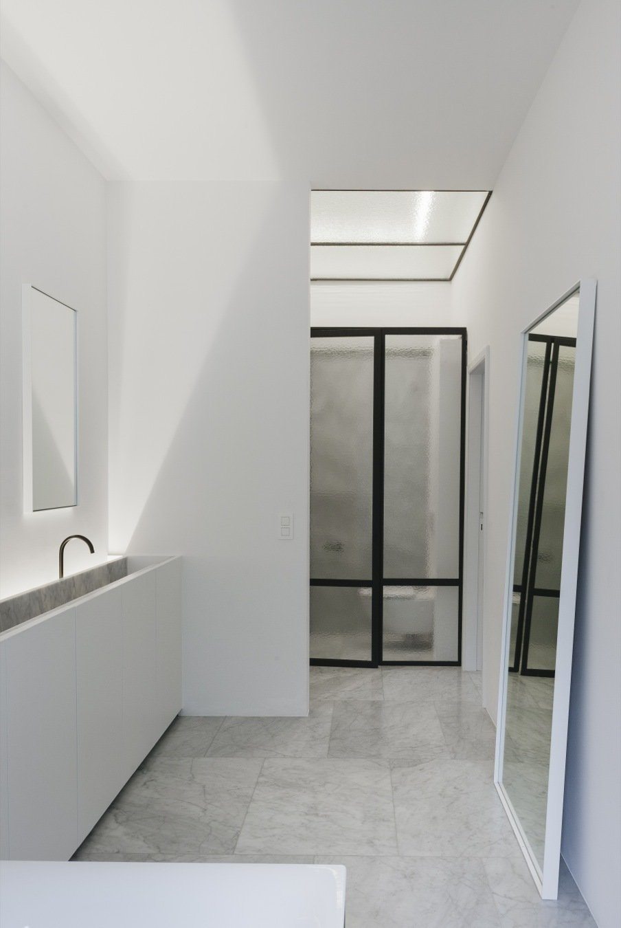 Bath Room, Ceiling Lighting, and Vessel Sink  Photo 11 of 11 in 10 Minimalist and Monochromatic Homes in Belgium from House F Antwerp by Hans Verstuyft Architecten