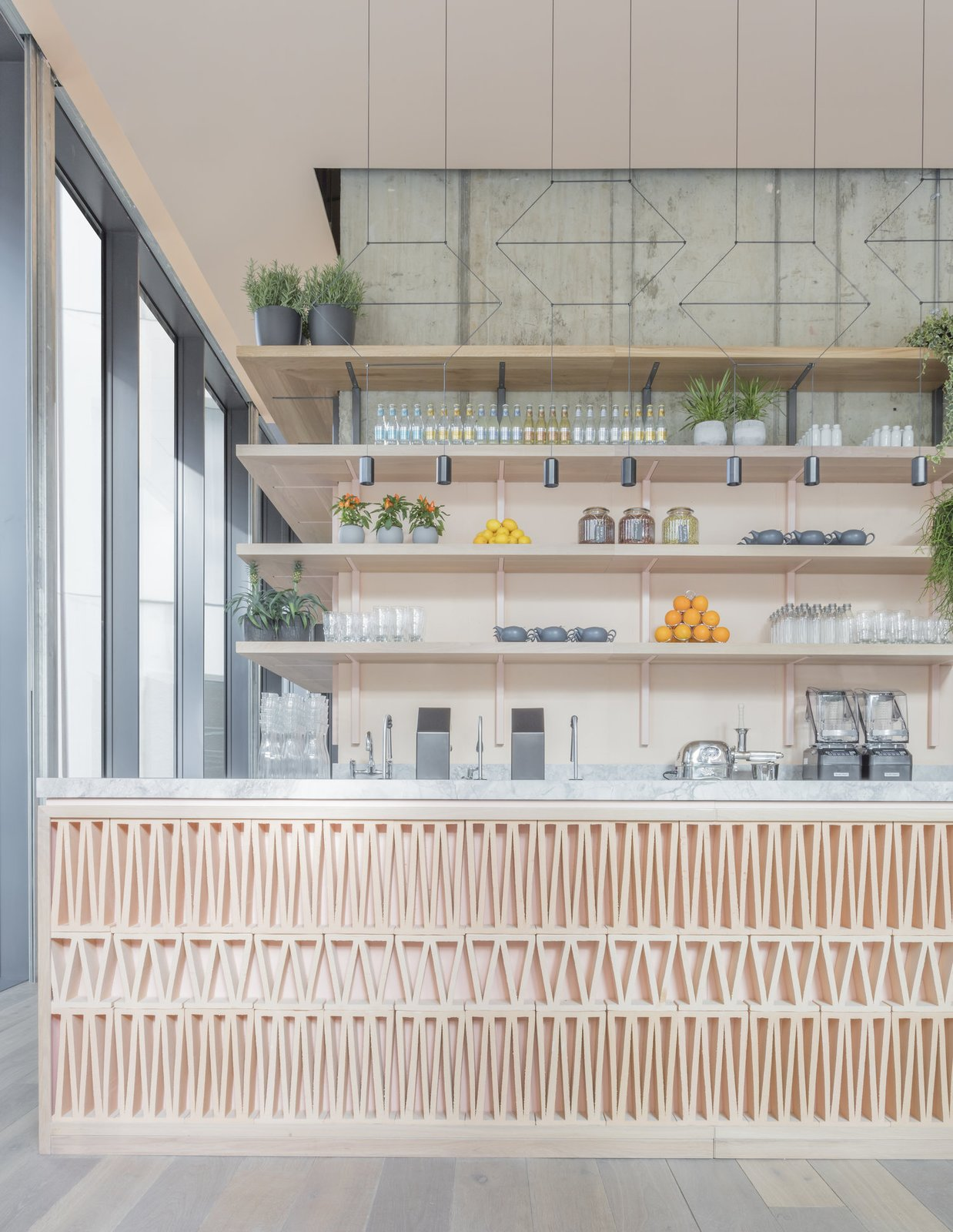 Kitchen, Pendant Lighting, Open Cabinet, Medium Hardwood Floor, and Marble Counter  Photo 7 of 7 in Leman Locke London by Grzywinski+Pons