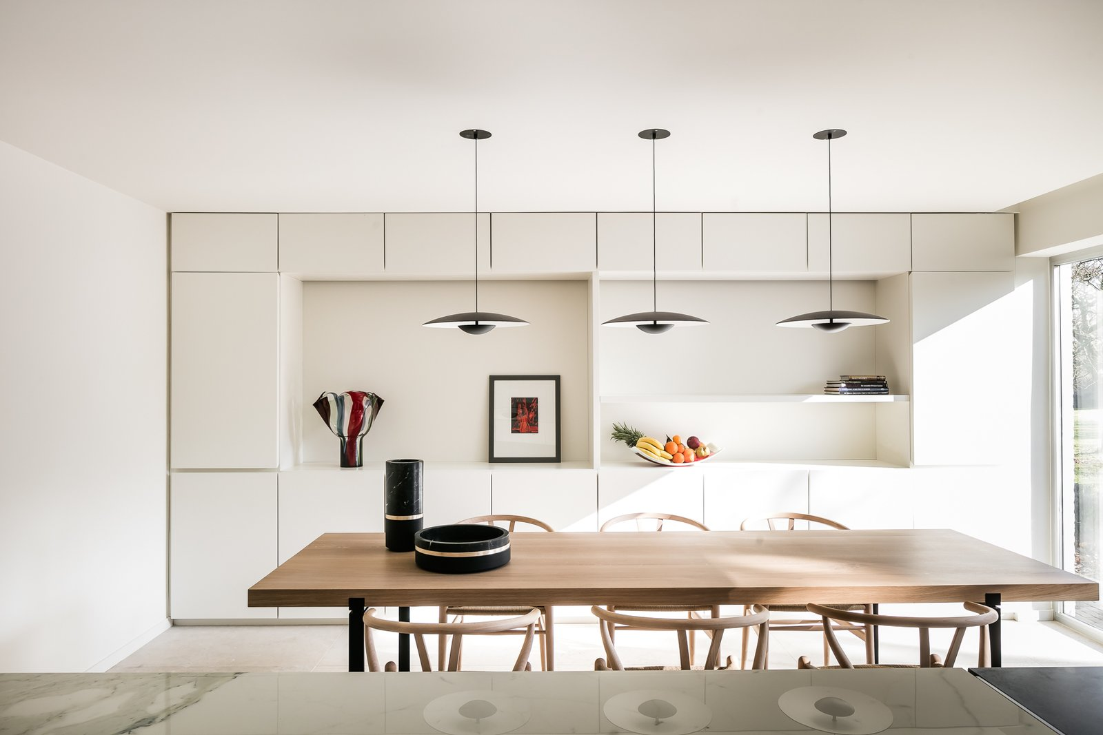 Kitchen, White Cabinet, Pendant Lighting, and Granite Counter  Photo 10 of 21 in BC House by Dieter Vander Velpen