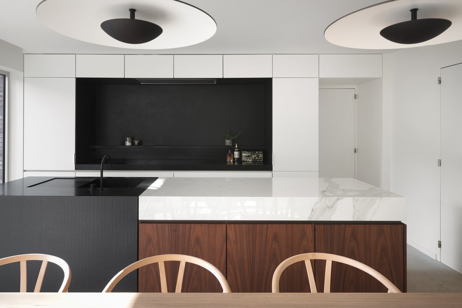 Kitchen, Ceiling Lighting, Undermount Sink, and Marble Counter  Photo 3 of 21 in BC House by Dieter Vander Velpen