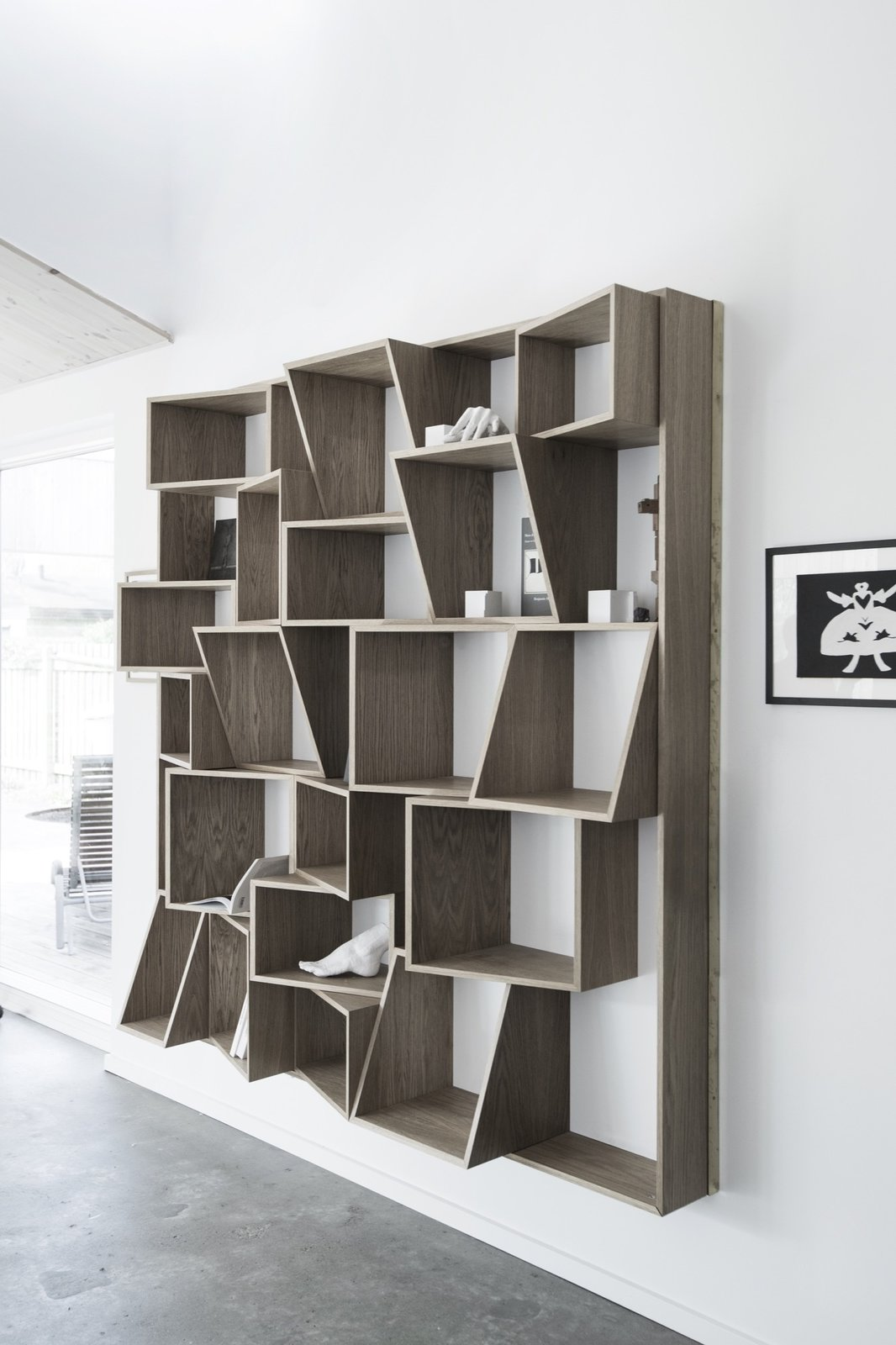 Bookcase, Shelves, Storage Room, and Shelves Storage Type  The Roof House