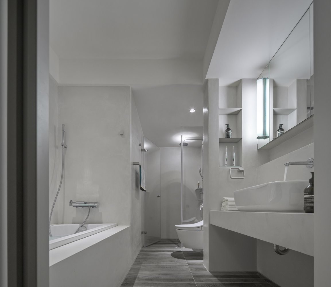 Chair, Vessel Sink, and Bath Room  Backlight Apartment