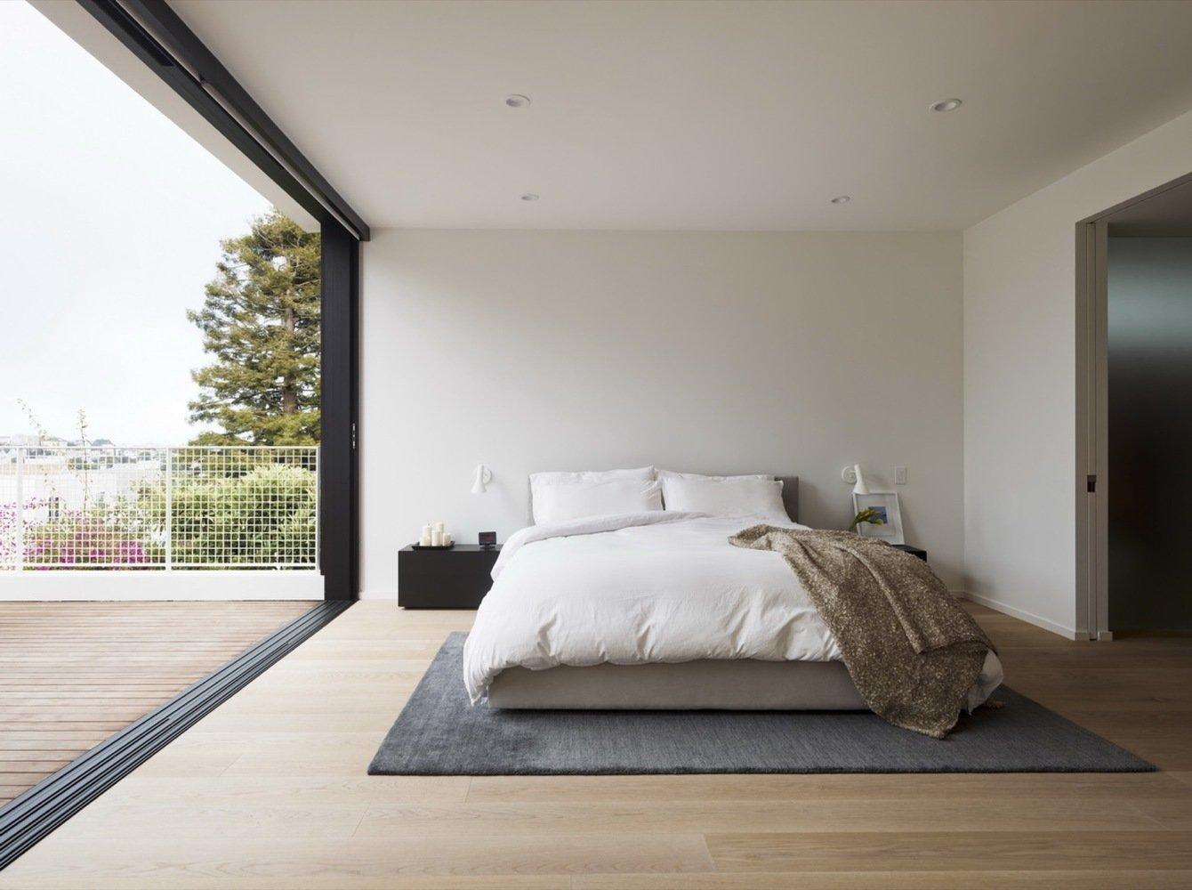 Bedroom, Bed, Recessed Lighting, and Light Hardwood Floor  Switchback House