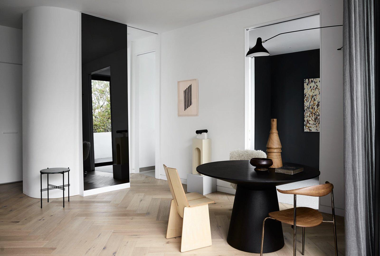 Living Room, Chair, Table, Wall Lighting, and Light Hardwood Floor  South Yarra Residence