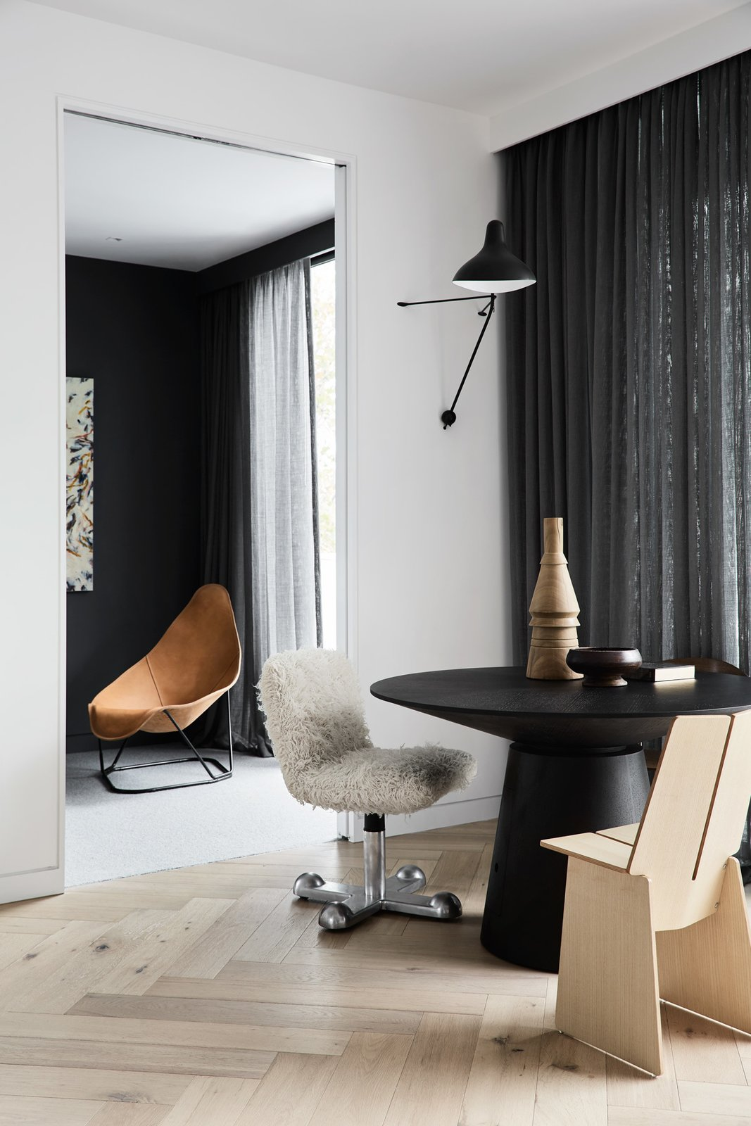 Living Room, Chair, Light Hardwood Floor, and Wall Lighting  South Yarra Residence