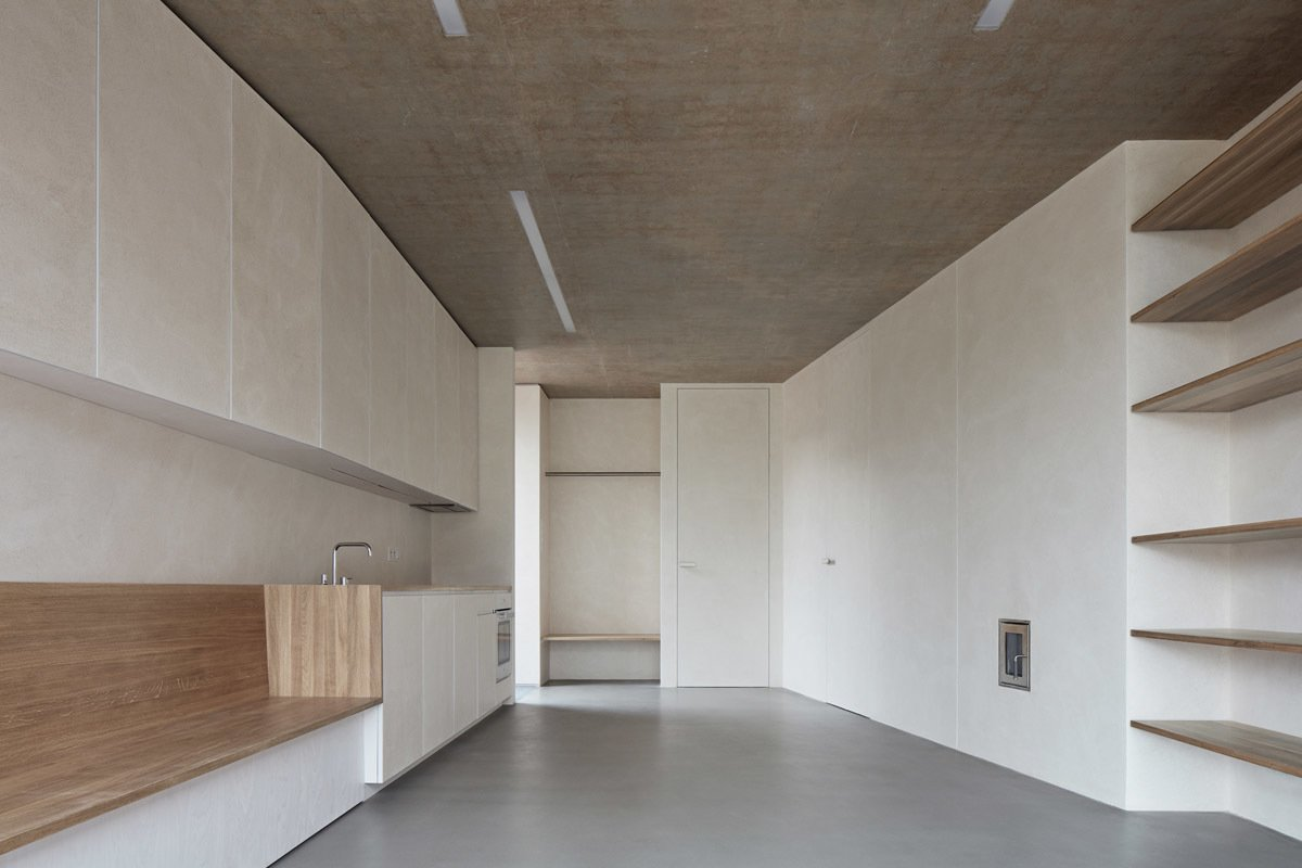 Kitchen, Wood, Concrete, White, Concrete, and Recessed  Best Kitchen Concrete Recessed Photos from Brick Garden with Brick House