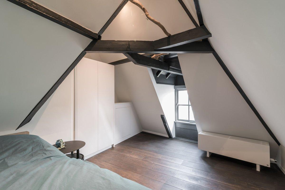 Bedroom, Ceiling Lighting, Bed, Night Stands, and Dark Hardwood Floor  Project CC
