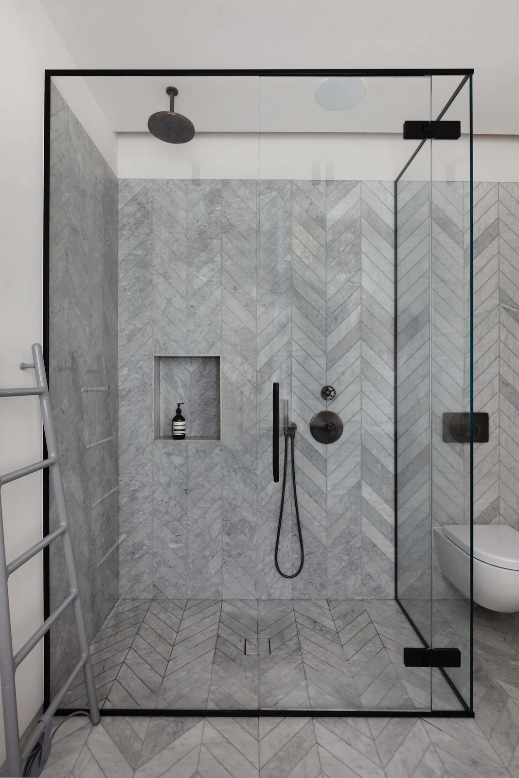 Bath, Stone, Enclosed, Corner, Marble, One Piece, and Stone Tile  Bath Marble Corner Photos from Maida Vale Apartment