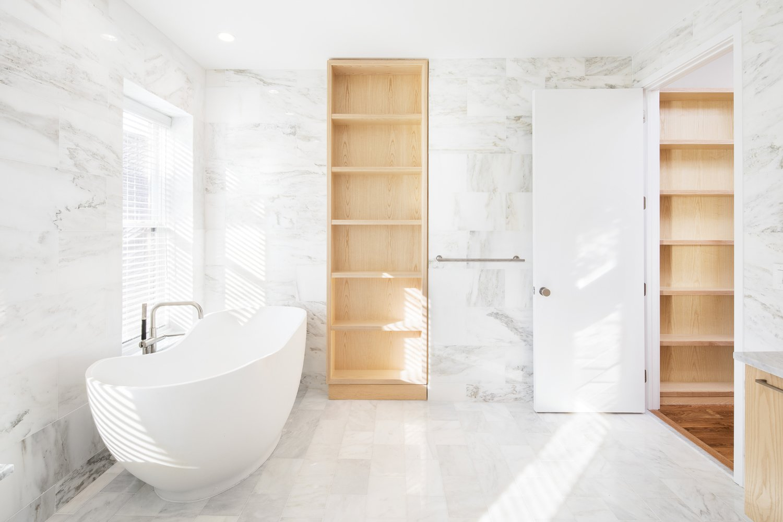 Bath Room, Freestanding Tub, Marble Floor, and Marble Wall  Wayne Street Row House
