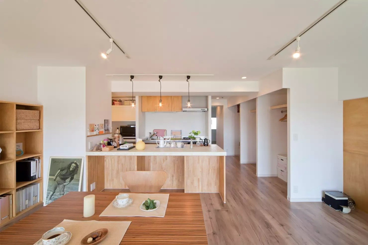 Kitchen, White Cabinet, and Medium Hardwood Floor  Book Cafe House