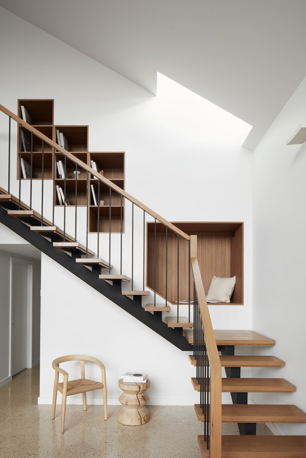 Staircase, Wood Tread, and Wood Railing  Kingsville Residence