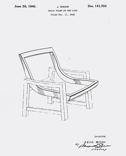 Jens Risom's patent for a chair frame, c. 1943. Image from the Knoll Archive.