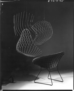 Outake from an advertisement for the Bertoia Diamond Chair. Photograph by Herbert Matter. Image from the Knoll Archive.