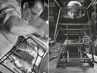 Factory worker assembling the base and frame of a Bertoia Side Chair. Image from the Knoll Archive.