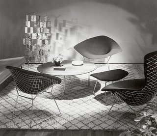 The Bertoia Collection designed by Harry Bertoia, 1952. Image from the Knoll Archive.