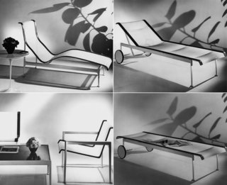 Clockwise: 1966 Contour Chaise, 1966 Adjustable Chaise (upright), 1966 Adjustable Chaise (reclined), 1966 Lounge Chair and Coffee Table.