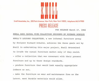 Original press release for The Leisure Collection, 1966. Image from the Knoll Archive.