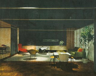 Bertoia Two-Tone Side Chairs in Knoll Showroom at Merchandise Mart in Chicago, Illinois, 1953.