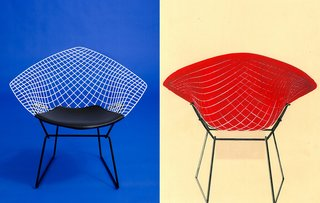Left: A photograph of the reissued Bertoia Two-Tone Diamond Chair, 2016. Photograph by Knoll Right: A hand-painted advertisement for the Bertoia Two-Tone Diamond Chair from the 1950s. Image from the Knoll Archive.