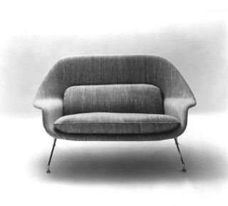 Promotional photograph of the Model 70 Womb Settee, 1948. Photograph from the Knoll Archive.