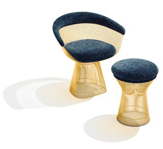 Platner Arm Chair and Stool in 18k gold-plated steel. Photograph by Ilan Rubin.