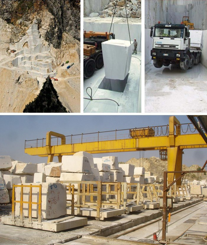 Scenes from Knoll marble quarries in Italy. Photography by Knoll.  Photo 4 of 14 in Quarry to Table: A Story in Stone